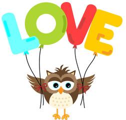 Cute owl holding love balloon