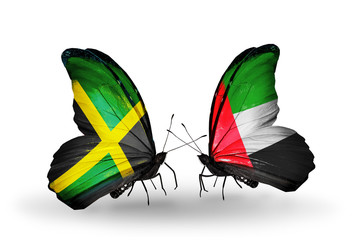 Two butterflies with flags Jamaica and UAE