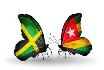 Two butterflies with flags Jamaica and Togo