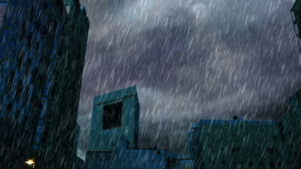 heavy rain over buildings in the early morning