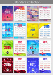 Set of 2015 calendar template brochures. Geometric design