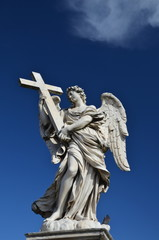 Angel with Cross Statue on Ponte Sant'Angelo in Rome, Italy