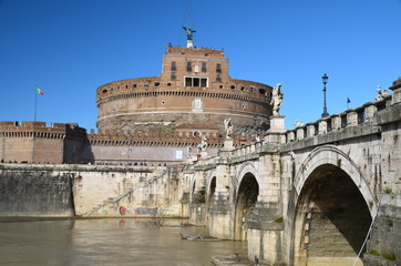 Castel and Ponte Sant'Angelo in Rome, Italy.