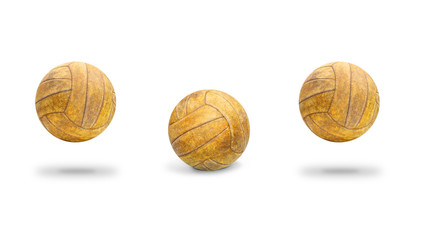 Ball from yellow leather dribbling on white background.