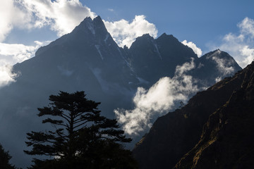 Peaks of mountain tops in the Himalayas in Nepal