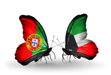 Two butterflies with flags Portugal and Kuwait