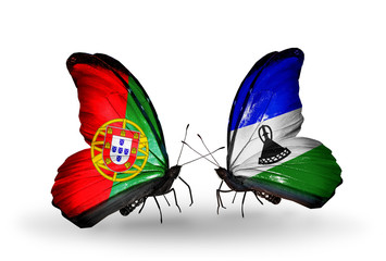 Two butterflies with flags Portugal and Lesotho