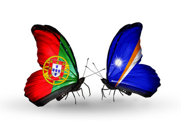 Two butterflies with flags Portugal and Marshall islands