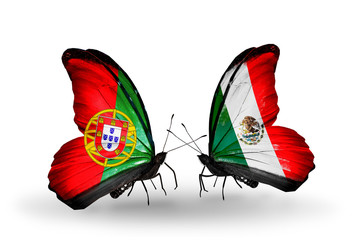 Two butterflies with flags Portugal and Mexico