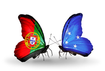 Two butterflies with flags Portugal and Micronesia
