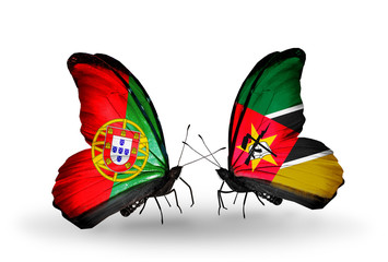 Two butterflies with flags Portugal and Mozambique