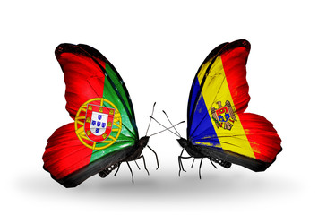 Two butterflies with flags Portugal and Moldova