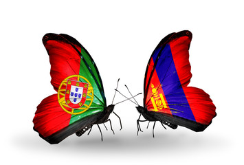 Two butterflies with flags Portugal and Mongolia