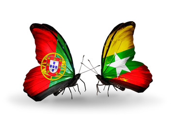 Two butterflies with flags Portugal and Myanmar
