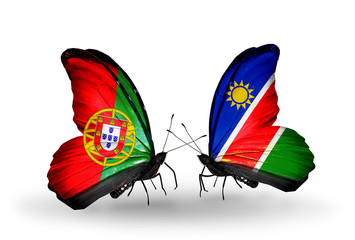 Two butterflies with flags Portugal and Namibia