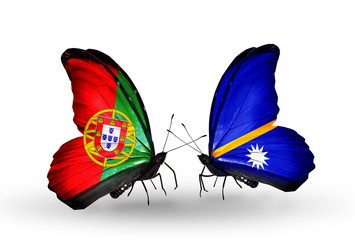 Two butterflies with flags Portugal and Nauru