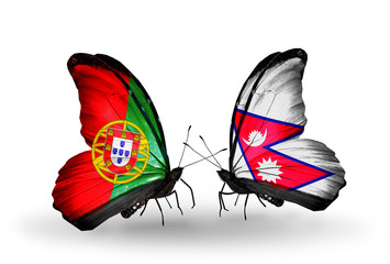 Two butterflies with flags Portugal and Nepal
