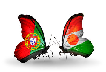 Two butterflies with flags Portugal and Niger