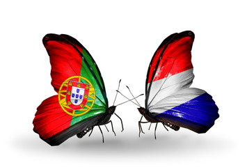 Two butterflies with flags Portugal and Holland
