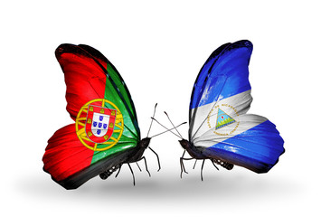 Two butterflies with flags Portugal and Nicaragua
