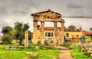 Entrance to the Library of Hadrian in Athens - Greece