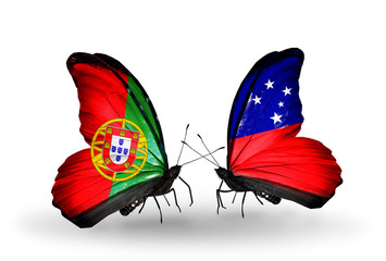 Two butterflies with flags Portugal and Samoa