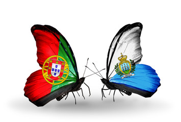 Two butterflies with flags Portugal and San Marino
