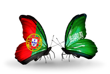 Two butterflies with flags Portugal and Saudi Arabia
