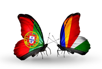 Two butterflies with flags Portugal and Seychelles