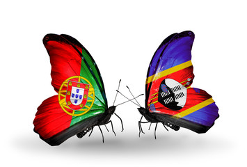 Two butterflies with flags Portugal and Swaziland