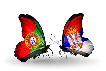 Two butterflies with flags Portugal and Serbia