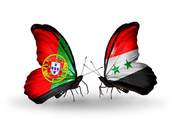 Two butterflies with flags  Portugal and Syria