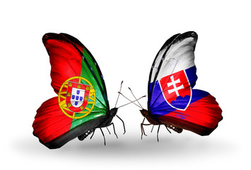 Two butterflies with flags Portugal and Slovakia