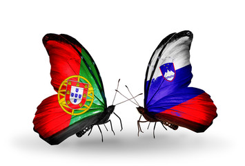 Two butterflies with flags Portugal and Slovenia