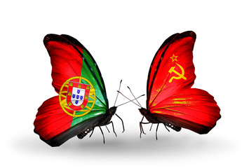 Two butterflies with flags Portugal and Soviet Union