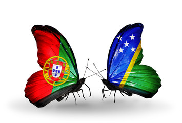 Two butterflies with flags Portugal and Solomon Islands