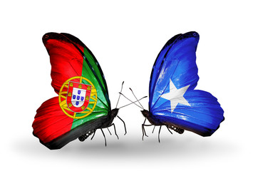 Two butterflies with flags Portugal and Somalia