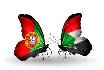 Two butterflies with flags Portugal and Sudan