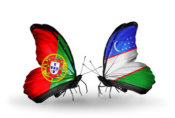 Two butterflies with flags Portugal and Uzbekistan