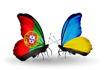 Two butterflies with flags Portugal and Ukraine