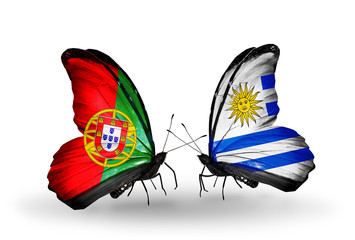 Two butterflies with flags Portugal and Uruguay