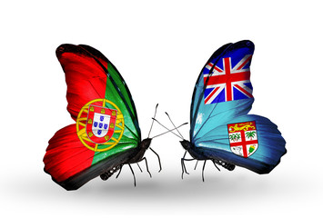 Two butterflies with flags Portugal and Fiji