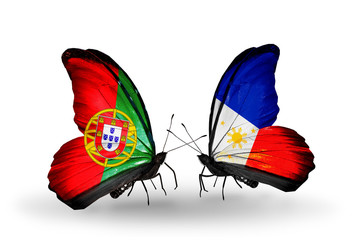Two butterflies with flags Portugal and Philippines