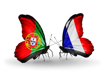 Two butterflies with flags Portugal and France