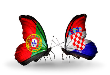 Two butterflies with flags Portugal and Croatia