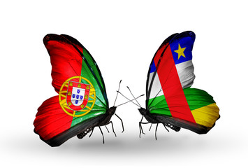 Two butterflies with flags Portugal and CAR