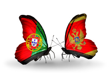 Two butterflies with flags Portugal and Montenegro