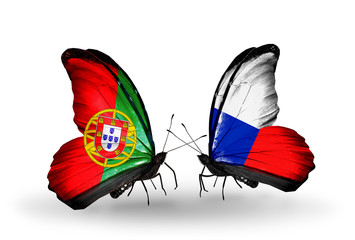Two butterflies with flags Portugal and Czech