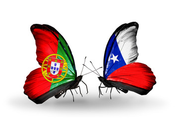 Two butterflies with flags Portugal and Chile