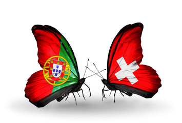 Two butterflies with flags Portugal and Switzerland